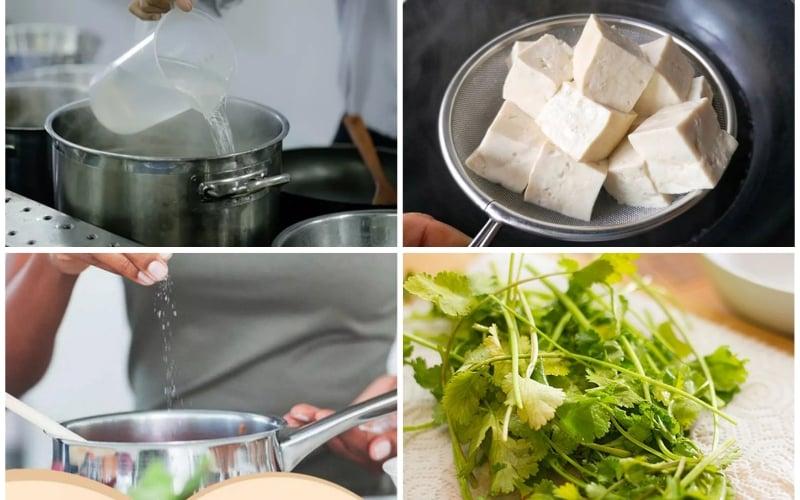 Nấu súp đậu hũ bắp