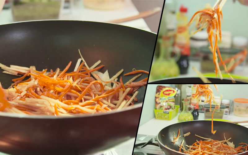 Xào cà rốt và củ đậu