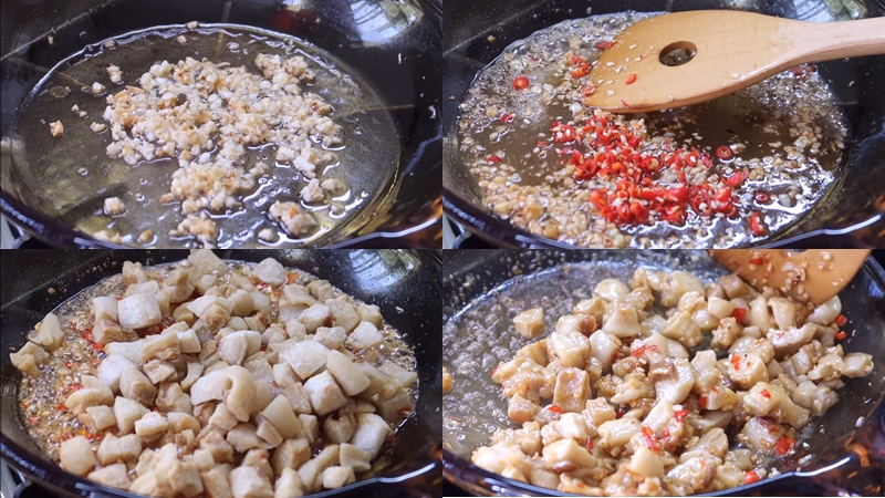 Xào tóp mỡ với tỏi ớt và nước mắm