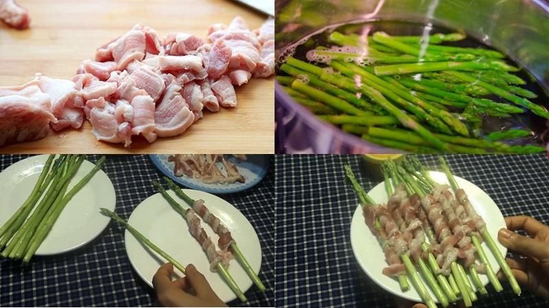 Chuẩn bị thịt ba chỉ cuộn măng tây