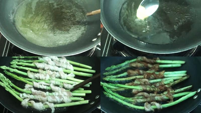 Chế biến thịt ba chỉ cuộn măng tây