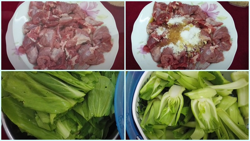 Sơ chế phần thịt bò và cải thìa