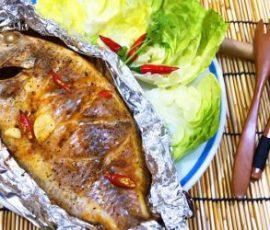 Món cá diêu hồng nướng giấy bạc mềm ngọt thơm nức