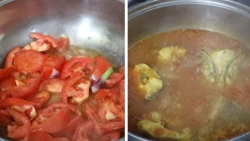 Xào mềm cà chua rồi cho cá vào nấu chín